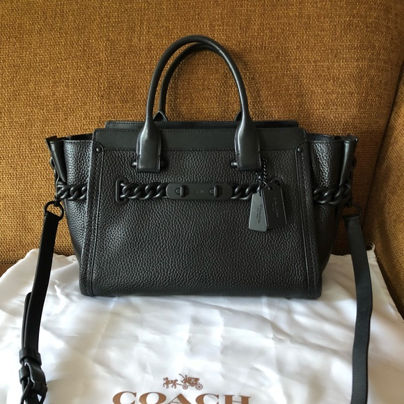 Coach Handbags - Coach Swagger 27 Satchel Pebble Leather Black a038a77052